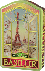 Basilur Window Paris Collection Tea Tin - Green Tea with Cherry , Cornflower , Almond , Vanilla & Strawberry