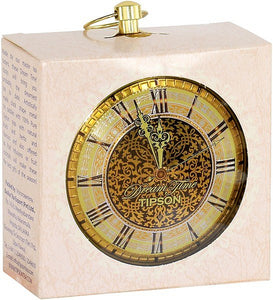 TIPSON Tea Dream Time GOLD CLOCK metal caddy 30g black leaf tea with orange, apricot and mandarin
