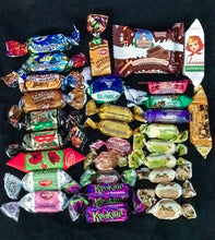 Load image into Gallery viewer, Christmas New Years gift N3 silver bag - mix of russian and european chocolate and sweets 320g