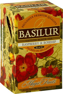 BASILUR TEA MAGIC FRUITS RASPBERRY & ROSEHIP FOIL ENVELOPED 20 TEA BAGS