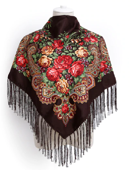 Russian shawl coffee brown 110x110cm