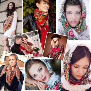 Russian shawl dark red 130x130cm