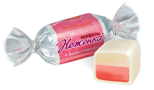 Rot Front Neghenka Sweets in white glazed chocolate by weight - mix of exotic and strawberry