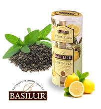 Load image into Gallery viewer, Basilur Fruit & Flowers Citrus Green Tea 125g two layer tin