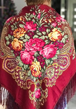Load image into Gallery viewer, Russian shawl burgundy 130x130cm
