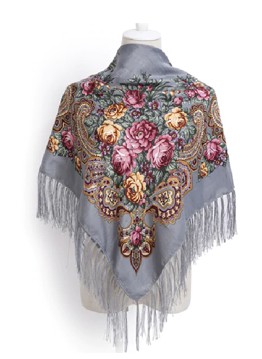 Russian shawl silver grey 110x110cm