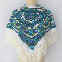 Load image into Gallery viewer, Russian shawl white blue 110x110cm