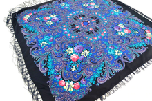 Load image into Gallery viewer, Russian shawl Royal Blue/Black 110x110 cm