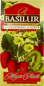 Basilur Strawberry & kiwi - Black tea with wolfberry, red cornflower, strawberry & kiwi 100g
