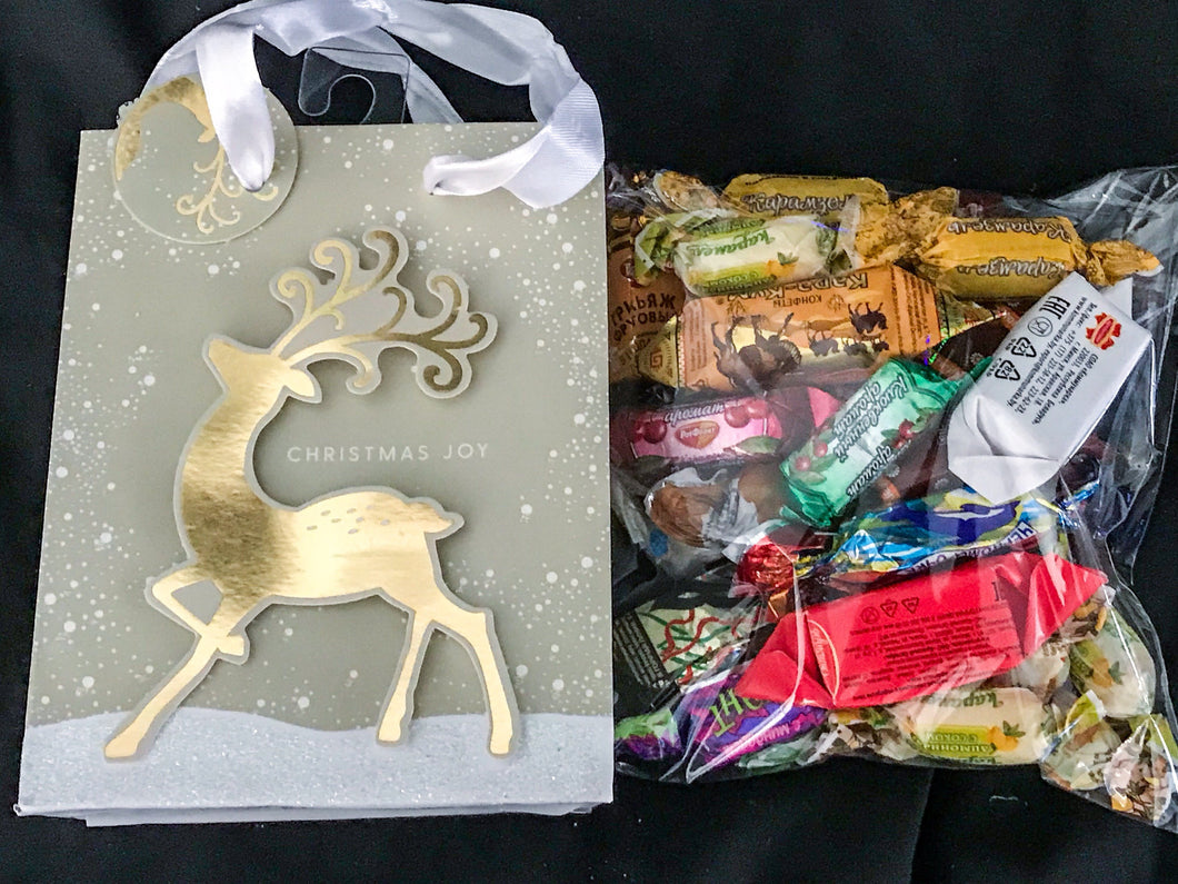 Christmas New Years gift N3 silver bag - mix of russian and european chocolate and sweets 320g