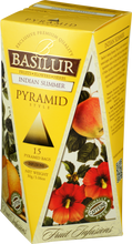 Load image into Gallery viewer, Basilur Fruit Infusions Indian Summer Herbal Tea - A blend of dried fruits and flower 15 pyramid tea bags