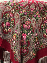 Load image into Gallery viewer, Russian shawl burgundy