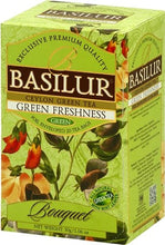 "Load image into Gallery viewer, Basilur Green Freshness Green Tea ""Bouquet"" 100g loose leaf tea and 20 Tea Bags - green tea with peppermint"