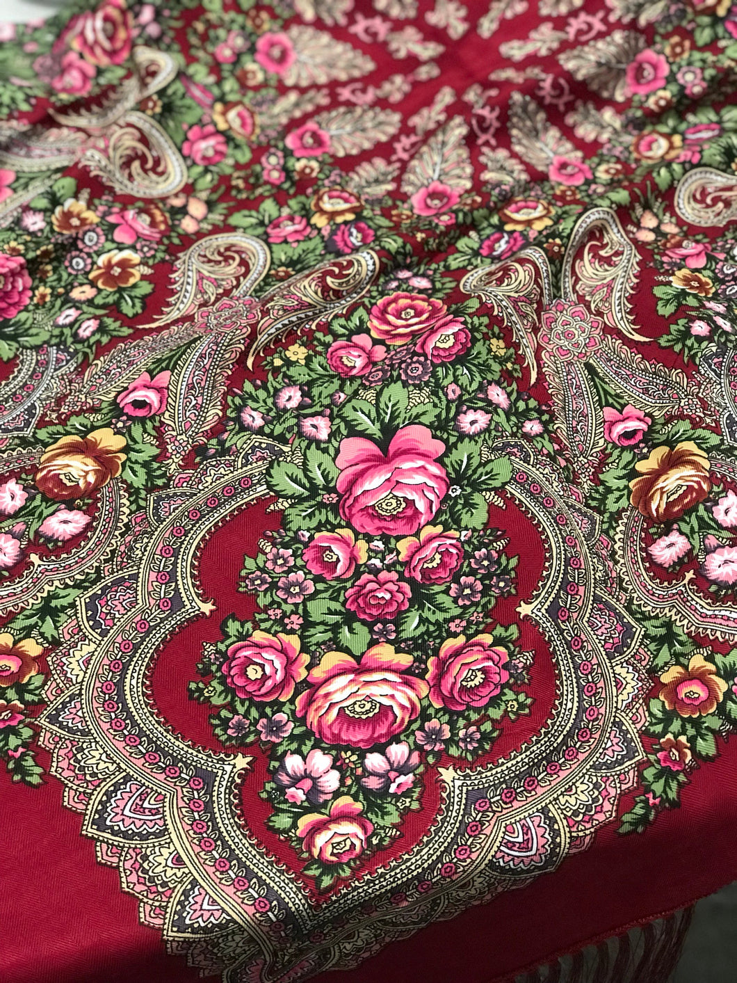Russian shawl burgundy