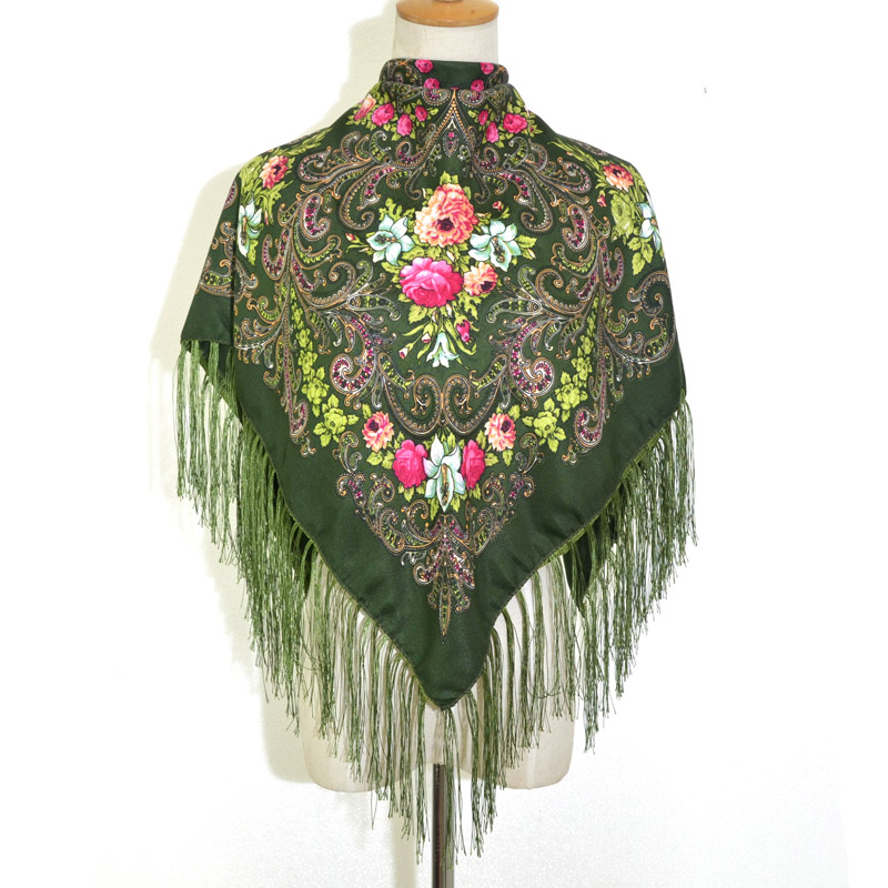 Russian shawl Green 110x110 cm