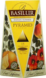 Basilur Fruit Infusions Indian Summer Herbal Tea - A blend of dried fruits and flower 15 pyramid tea bags
