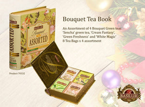 Basilur Tea Book (tea bags) - Bouquet Assorted - 4 types of Floral Green Teas