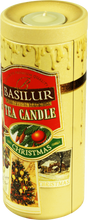 Load image into Gallery viewer, Basilur Tea Candle Christmas Tea Gift - Ceylon Black Tea, ginger, orange, pineapple 100g tin