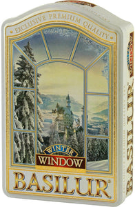 Basilur Winter Window Gift Tin - Green Tea with Cornflower, Apple, Cherry & Vanilla