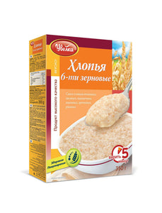 Uvelka Flakes 6 grains 350g (Oatmeal, barley, wheat, rye and buckwheat)