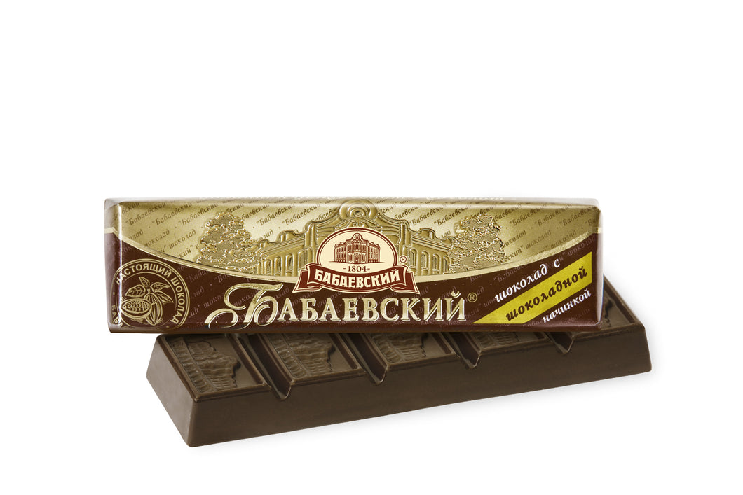 CHOCOLATE BAR WITH CHOCOLATE FILLING BABAEVSKY 50G Russia