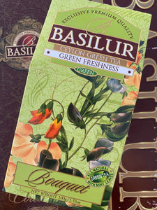 "Basilur Green Freshness Green Tea ""Bouquet"" 100g loose leaf tea and 20 Tea Bags - green tea with peppermint"