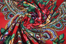 Load image into Gallery viewer, Russian folk shawl scarf wrap (blue, black, red wine) 200x70cm with 12cm fringe