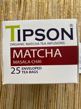 Load image into Gallery viewer, TIPSON Organic Matcha Masala Chai 25 foil envelopes sachets
