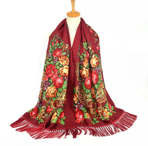 Russian folk shawl scarf wrap (blue, black, red wine) 200x70cm with 12cm fringe