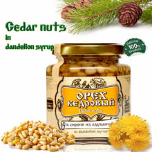 Load image into Gallery viewer, Organic Cedar Nuts in Dandelion Syrup by Sibirskiy Znakhar, 220g, 110g Glass Jar
