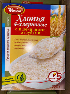 Uvelka Flakes 4 grains 350g - rye, wheat, oat, barley