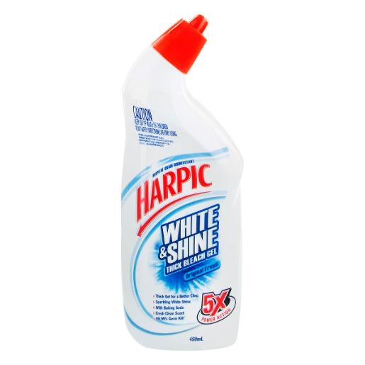 Harpic WHITE AND SHINE LIQUID TOILET CLEANER ORIGINAL FRESH 450ML  White & Shine Ultimate Bleach power