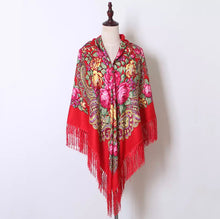 Load image into Gallery viewer, Russian shawl 160x160cm - red, silver