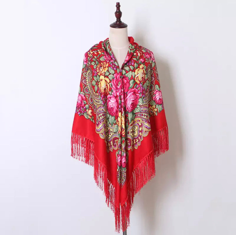 Russian shawl 160x160cm - red, silver