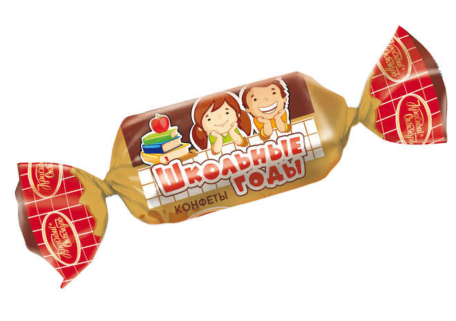 "Russian Unglazed candy ""School years"" 250g (cream & cacao) -"