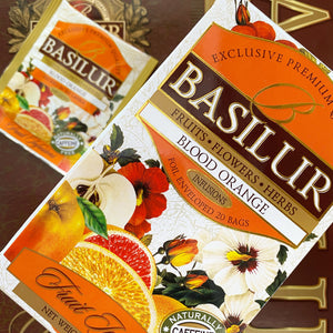 "Basilur - ""Blood Orange"" Fruit Infusions Collection - Natural Caffeine Free - 100g, 20 Sachets"