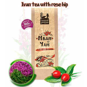 Organic Ivan Tea (Fireweed Tea or WillowHerb Chai) with Rose Hip by Sibirskiy Znakhar, 50g kraft paper bag