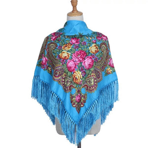 Russian shawl 110x110 cm - blue, green, white, beige