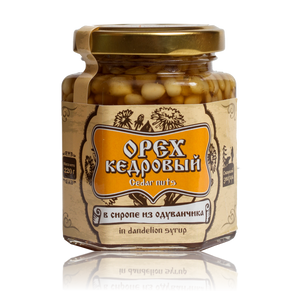 Organic Cedar Nuts in Dandelion Syrup by Sibirskiy Znakhar, 220g, 110g Glass Jar