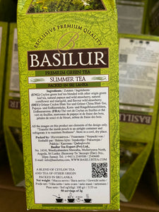 Basilur Four Seasons - Summer Tea - Sencha green tea with wild strawberries, papaya & cornflower 100g packet