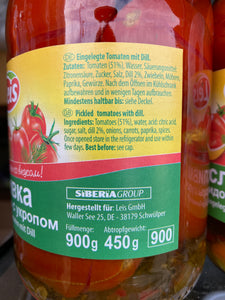 Tomatoes Slivka with dill without vinegar 900ml