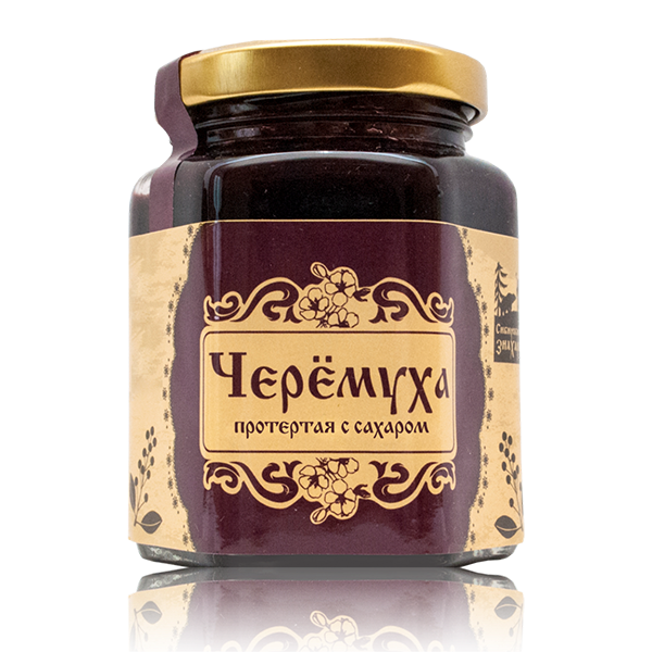 Organic Bird Cherry (known as bird cherry, hackberry, hagberry or Mayday tree) mashed with sugar by Sibirskiy Znakhar, Glass Jar