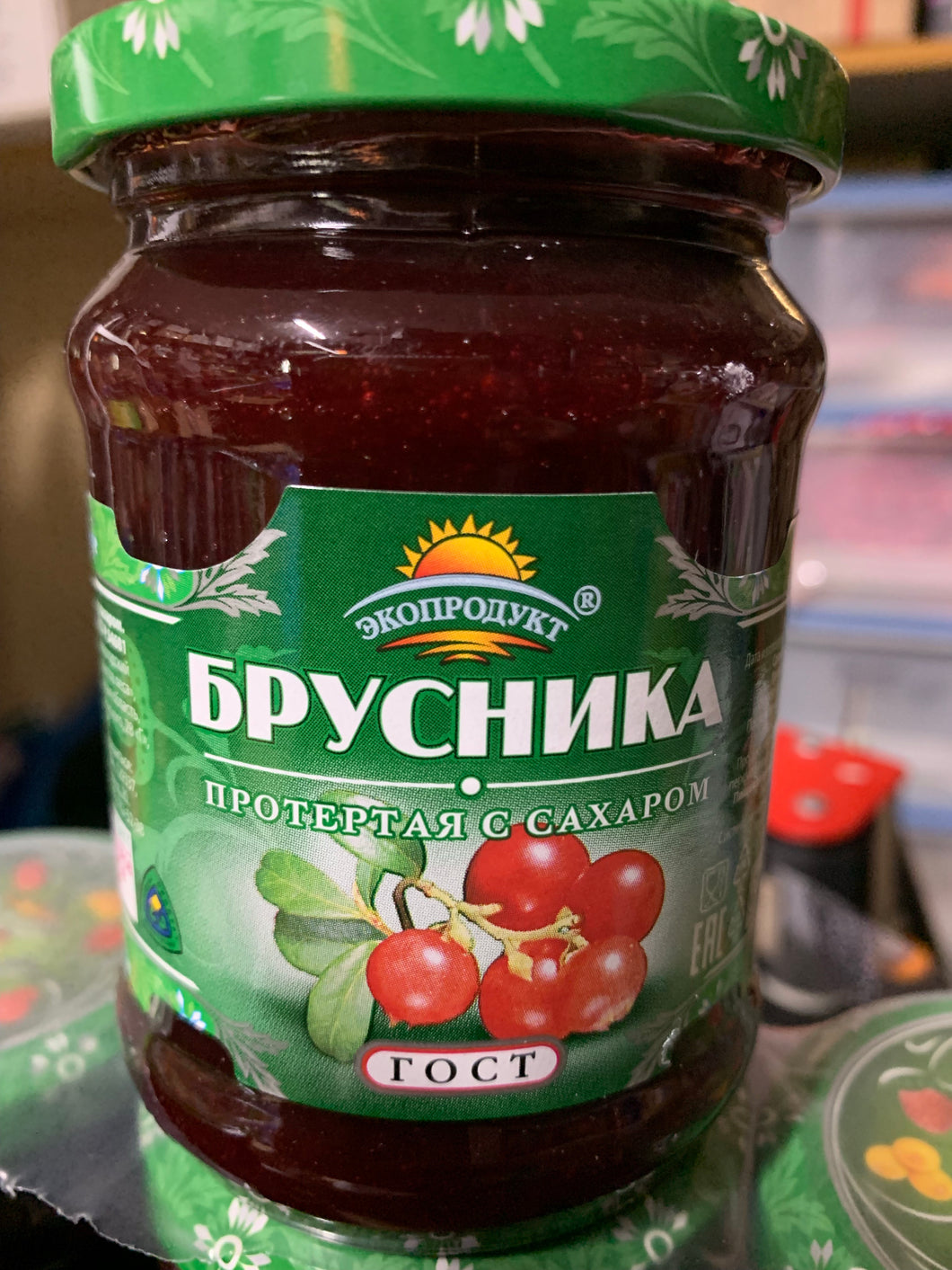 Ecoproduct Lingonberry (Brusnika) grated with sugar 320g