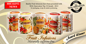 Basilur Fruit Infusions - Strawberry & Raspberry Herbal tea with berries & cherry 100g Metal tin Caffeine Free