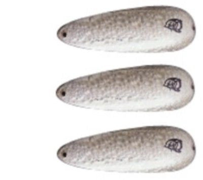 "Three Eppinger Devle Dog King Silver Crystal Fishing Spoons 3/4 oz 2 1/2"" 55-4"