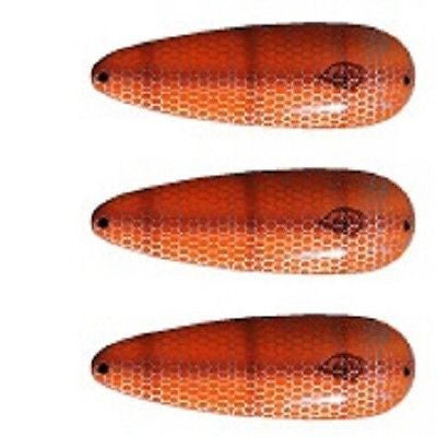 "Eppinger Three Seadevlet Orange/Brown Pike Scale Spoons 1 1/2 oz 4"" x 7/8"" 61-34"