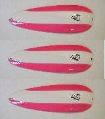 "Three Eppinger Seadevle IMP Pink/White Stripe Spoon Lures 1 oz 3 1/4"" 62-270"