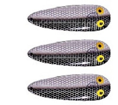 "Eppinger Three Seadevlet Shad (Alewife) Spoons 1 1/2 oz 4"" x 7/8"" 61-47"