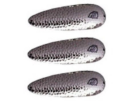 "Three Eppinger Seadevle IMP Hammered Nickel Fishing Spoon Lure 1 oz 3 1/4"" 62-62"