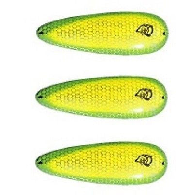 "Three Eppinger Seadevle IMP Chartreuse Green Spoon Lures 1 oz  3 1/4"" 62-72"